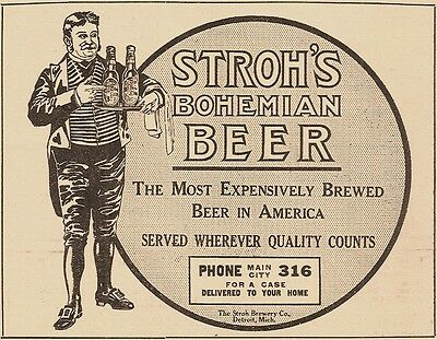1911 Stroh Brewery Company, Detroit, Michigan Bohemian Beer Advertisement