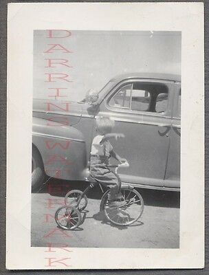 Vintage Car Photo Cute Boy on Tricycle w/ 1941 Ford Automobile 744689