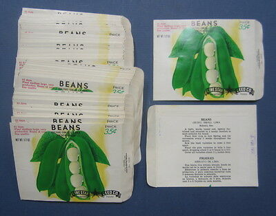 Wholesale Lot of 100 Old Vintage Small Lima Henderson BEANS SEED PACKETS - EMPTY