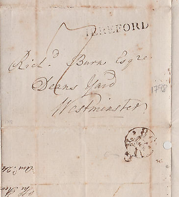 1798 Rarity Hereford Line Cancel On Wrapper Mailed To Deans Yard Westminster