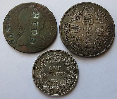 3 Britain coins, 1775 Stamped 1/2 Penny, 1834 Shilling, 1853 Florin,UK (171920Y)
