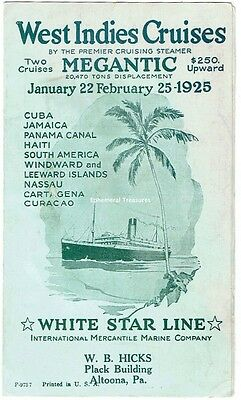 1925 White Star Line West Indies Cruise Pamphlet - SS Megantic