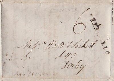 1805 RARITY UTTOXETER LINE CANCEL ON CONTENT LETTER RATED 6d MAILED TO DERBY