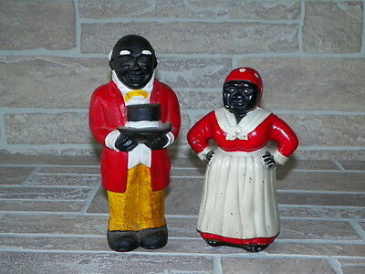 """Vintage AUNT JEMIMA & UNCLE MOSES Pair Cast Iron BANK/Door stop - 9"""" inches tall"""
