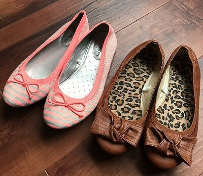 Girls Cherokee slip on flat shoes size 3 (two pair)