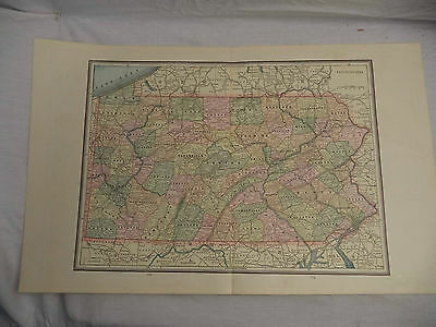 1891 Color Tinted Geo Cram Map The State of Pennsylvania Would be great Framed