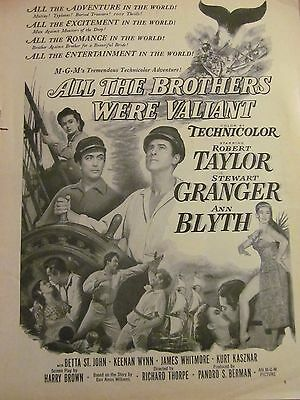 All the Brothers Were Valiant, Robert Taylor, Ann Blyth, Vintage Promotional Ad