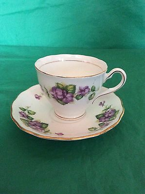 Colclough  Bone China England Violets Cup & Saucer