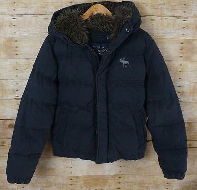 Boys Abercrombie Navy Blue KEMPSHALL Down Puffer Jacket Fur Lined Hood XL