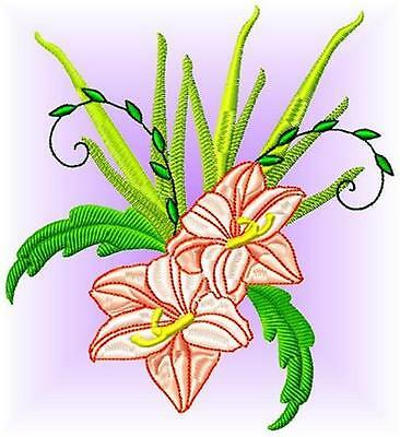 Lilies 10 Machine Embroidery Designs 3 Sizes