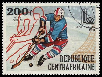 "CENTRAL AFRICAN REPUBLIC C218 - Lake Placid Olympics ""Ice Hockey"" (pf44972)"