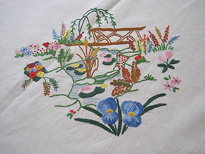 Beautifully Embroidered Pond And Garden Fine Linen Tablecloth