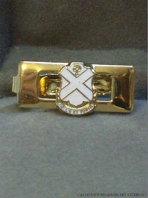 Vintage National Guard US Army Tie Clasp 113th Infantry NJ Unit Crest Gold Tone