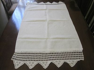 Large Huckaback Linen Guest Towel With Hand Crochet Ends