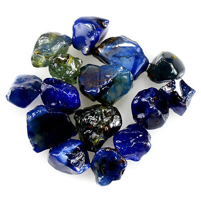 UNHEATED! 15pcs, 23.60ct NATURAL100% UNHEATED BLUE SAPPHIRE ROUGH SPECIMEN NR!