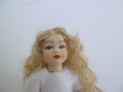 1:12 scale undressed dollshouse 4 inch girl doll with blonde curls, blue eyes
