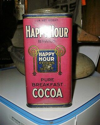 Vintage Happy Hour Brand Cocoa Tin Can Bloomington Il Campbell Holton