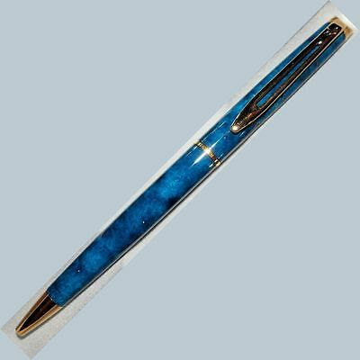 Waterman Hemisphere Ball Pen blue marble Lacquer NAME GT NEW m em