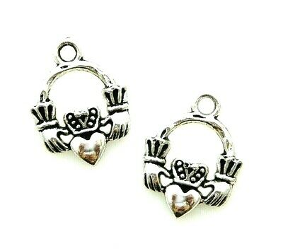 10 Tibetan Silver 18mm Irish Celtic Claddaugh Hands Heart Crown Bead Charms