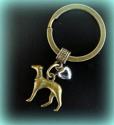 GREYHOUND DOG and Heart KEYCHAIN Jewelry - Art Nouveau Art Deco Antique Style