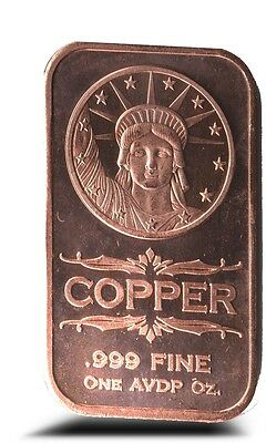 1 AVDP oz Statue of Liberty Copper Ingot .999 uncirculated bar.