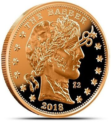 1 oz Zombucks™ The Barber copper round. Uncirculated coin .999