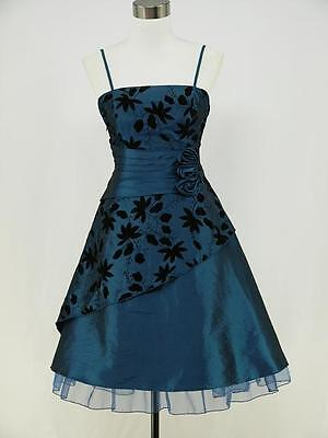 dress190 BLUE 50s ROCKABILLY COCKTAIL FLOCK FLORAL PROM EVENING PARTY DRESS 18