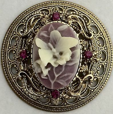 """VINTAGE FILAGREE ~1 3/4"""" INCH~Brass Antique Vintage Picture Cameo Button"""