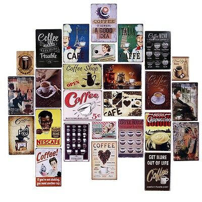 Vintage Metal Tin Signs Hot Coffee Home Cafe Wall Decor Art Poster