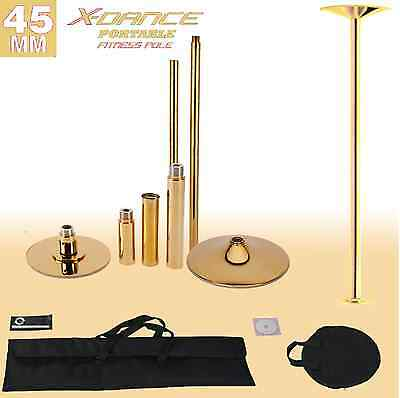 45mm Training Dance Pole X-Dance Chrome GOLD Fitness Exercise + 2 Carry Bag NEW