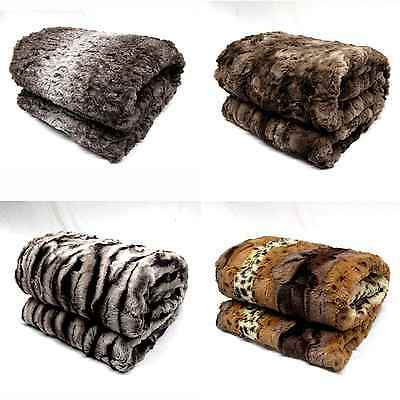 Luxury Soft Faux Fur Mink Animal Bed Sofa Lounge Throw Blanket Runner 130x160cm
