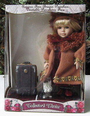Collector's Choice  Genuine Bisque Porcelain Doll With Trunk & Yorkshire Terrier
