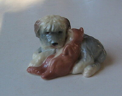 Old English Sheepdog Cuddling A Kitten Figurine