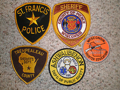 Wisconsin 5 patches Police Sheriff DNR Warden WI law enforcement patch lot