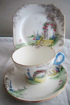 Shelley ARCHWAY of ROSES TRIO Cup Saucer and Square Plate