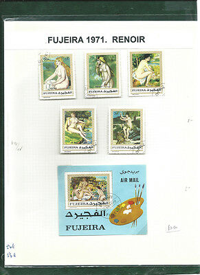Fujeira 1971 Art stamps Paintings by Renoir & minisheet cto used