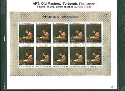 Fujeira Art sheet Terborch The Letter mint sheet of 10 MNH