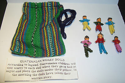 TWO sets of 6 Small Handmade Guatemalan Worry Dolls~People,in bags~uk seller~TS