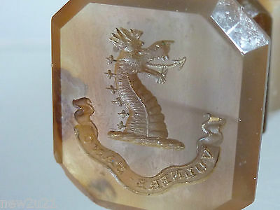 Victorian Intaglio Seal Family Coat Arms Balderston I Cure by a Wound Agate