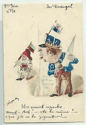 Portugal Manuel in murder-attack handpainted cartoon signed ROBERTY 1912