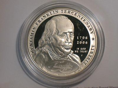 2006-P Ben Franklin Founding Father Proof Silver Dollar Commem - Coin & Capsule