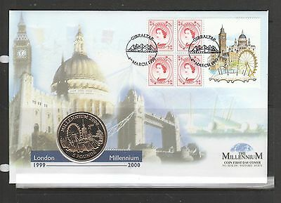 Gibraltar coin cover 1999 for the Millenium, with Gibraltar £5 coin for Milleniu