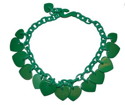 Green Resin Choker Necklace With Dangling Heart Charms