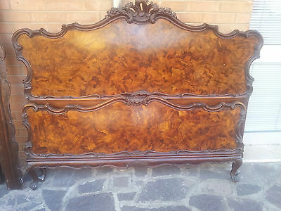 Elegant King Size Bed Louis Xv Venetian Baroque Walnut Veneered First '900