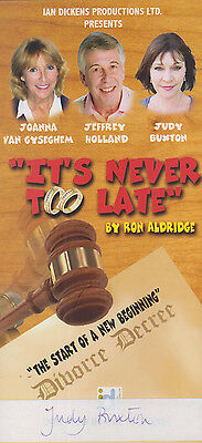 Judy Buxton General Hospital TV Show Its Never Too Late Signed Theatre Flyer