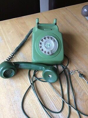 Vintage Retro Gpo 746 Rotary Dial Green Telephone - Not Converted