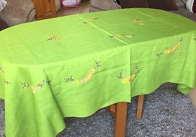Beautiful Embroidered Green Table Cloth