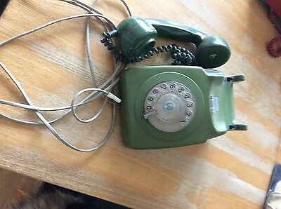 Gpo 746 Rotary Green Telephone - Converted And Working