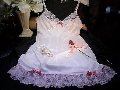 Sissy Cream Nylon Baby Doll Mini Full Slip Petticoat Pink Lace Satin Rose & Bows