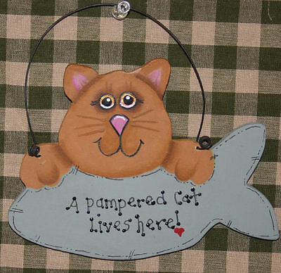 "Cat sign. ""A pampered Cat lives here!"" Check it out! Really cute!"